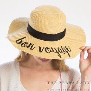 Bon Voyage Embroidery Straw Floppy Sun Hat